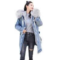 Hooded Winter Woman Coat Long Sleeve Solid Embroidery Medium Long Denim Parka 2019 New Fashion Ladies Wool Liner Keep Warm Tops