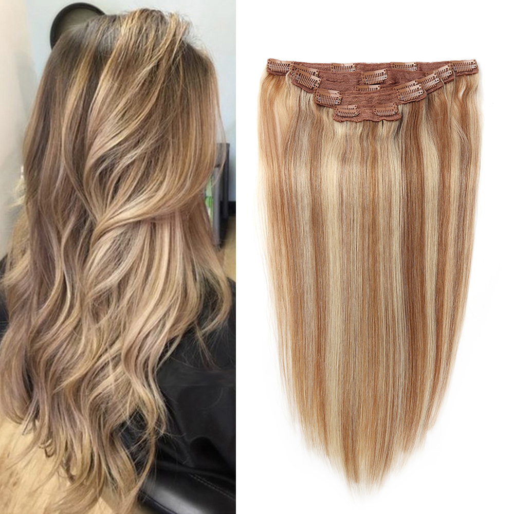 Sindra Clip In Human Hair Extensions Remy Brazilian Hair 7PCS Full Head Set Clip Hair Extensions
