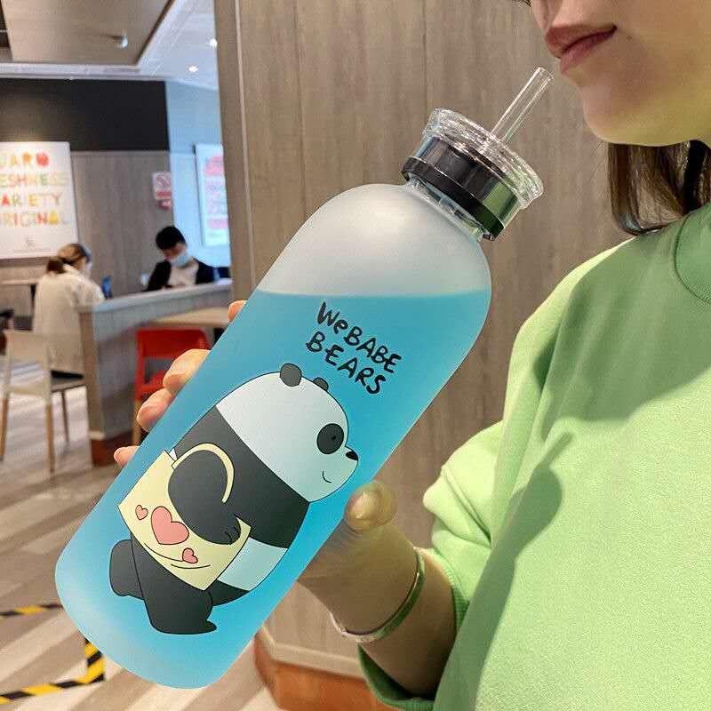 1000 мл матовые бутылки для воды kungfu панда прозрачная пластиковая бутылка мультяшная герметичная посуда для напитков Милая Студенческая Подарочная чашка для девочки|Бутылки для воды|   | АлиЭкспресс