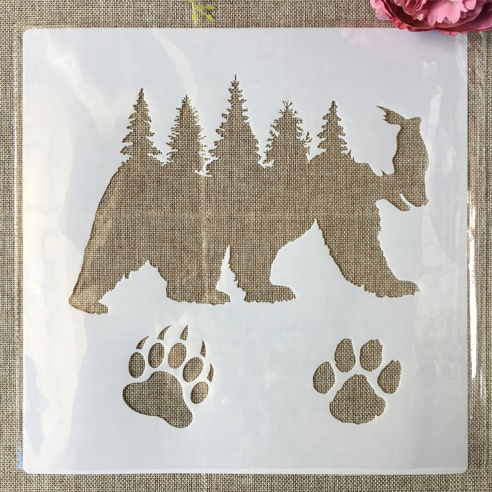 30*30cm Grizzlies Bear Paw Forest DIY Layering Stencils Painting Scrapbook Coloring Embossing Album Decorative Template