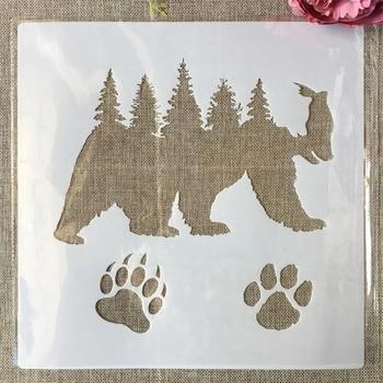 30*30cm Grizzlies Bear Paw Forest DIY Layering Stencils Painting Scrapbook Coloring Embossing Album Decorative Template выставка munk 2019 05 07t14 30