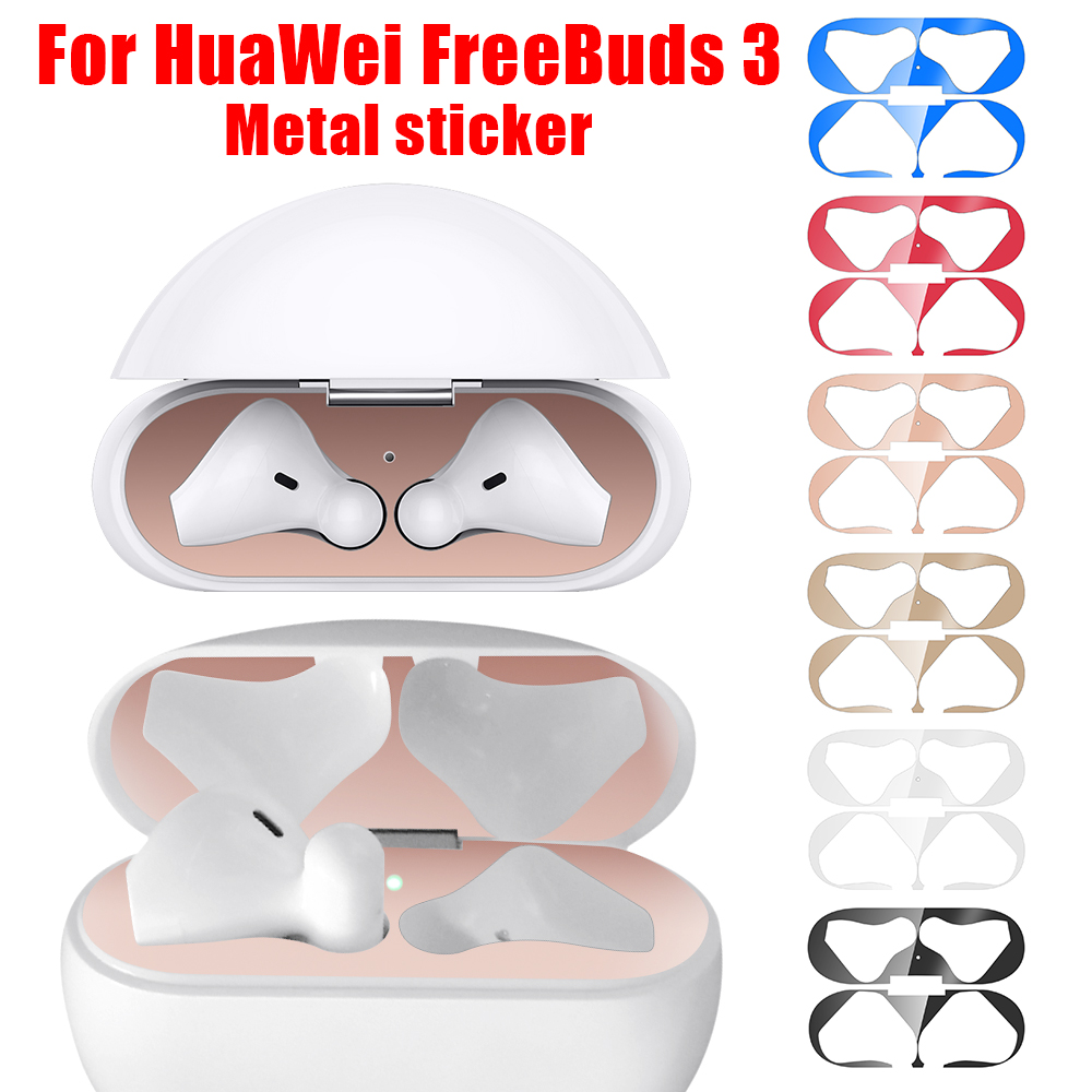 Metal Dustproof Sticker For HuaWei FreeBuds 3 Case Cover Accessories Ultra-Thin Protective Wrap Sticker Skin Self-Adhesive Film