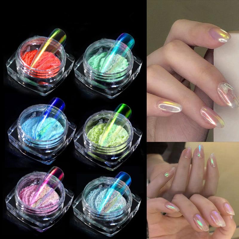 CHIVENIDO 6colors Magic Nail Powder Colored Acrylic Aurora Design Chrome for Art Salon