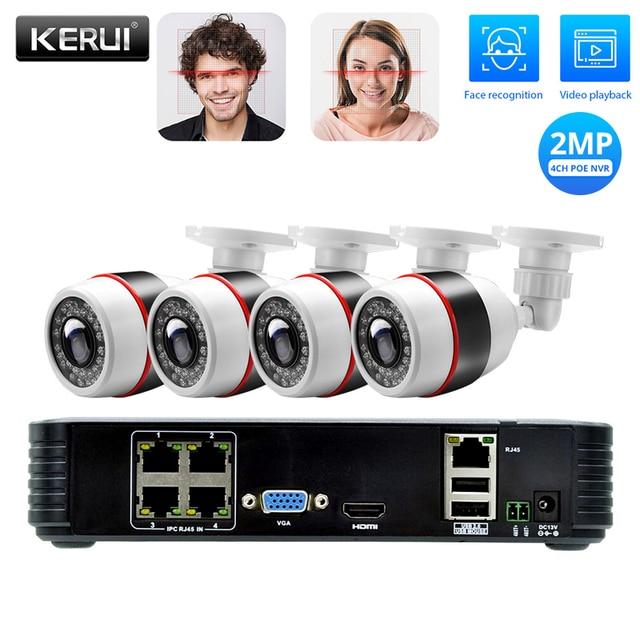 KERUI 4CH Poe Nvr 1080P 2MP Full Hd Camera Systeem Video Recorder Kits Home Security Onvif Cctv Surveillance Ondersteuning gezicht Record