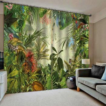 green leaf 3d curtains photo Blackout Window Drapes Luxury 3D Curtains For Living room Bed room Office Hotel Home