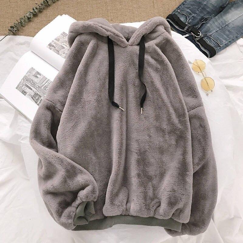 Autumn Winter Coats Soild Sweet Hooded Women Harajuku Loose Casual Warm Hoodies Ladies Fleece Flannel Pullover Female Sweatshirt 10