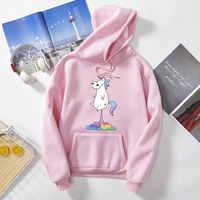 Unicornio Mujer primavera invierno de talla grande 3XL Sudaderas Para Mujer polar Sudadera con capucha chaqueta abrigo prendas de vestir s6519