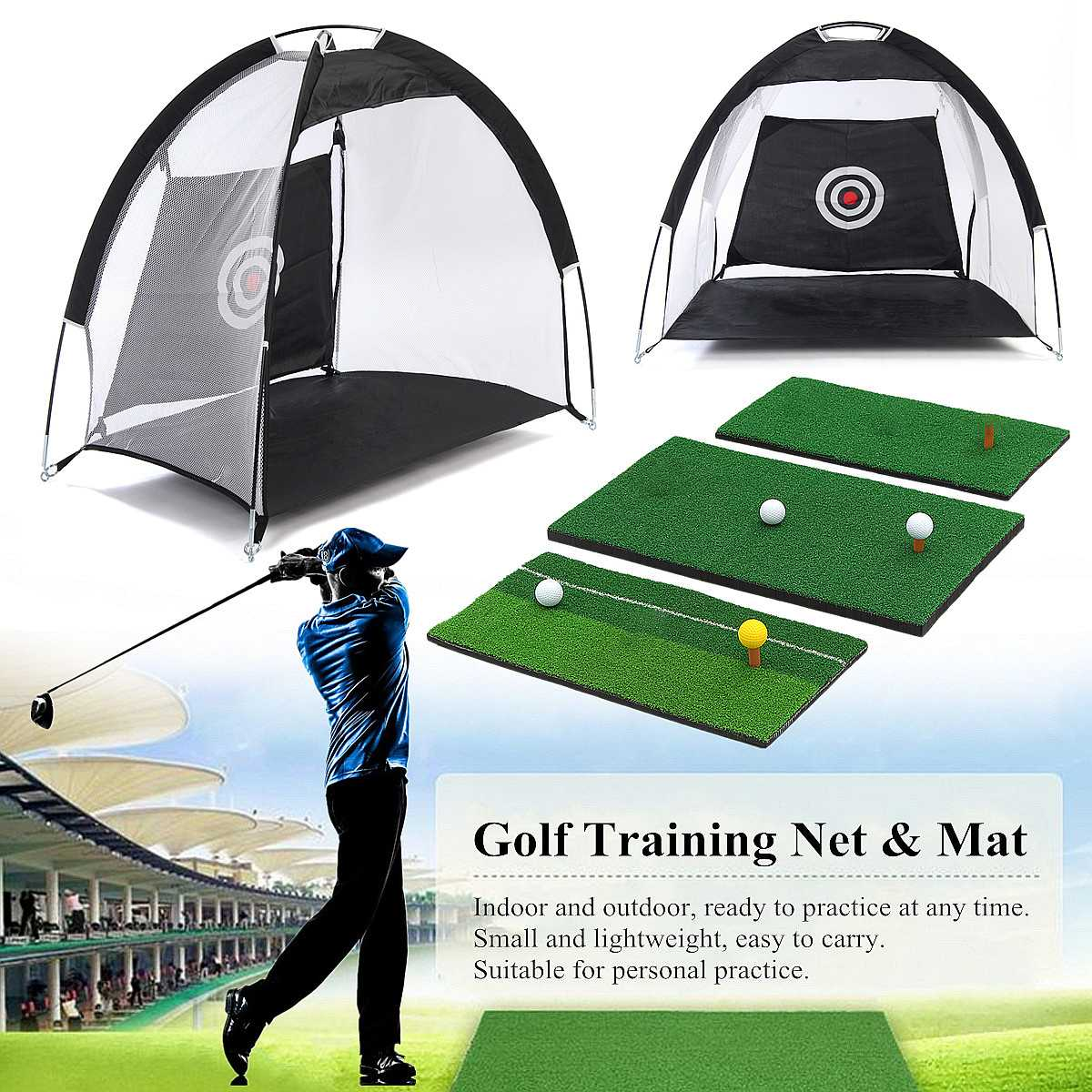 Indoor Foldable Golf Hitting Cage Practice Net Trainer + Training Aid Mat + Driver Iron Garden Grassland Golf Training Equipment