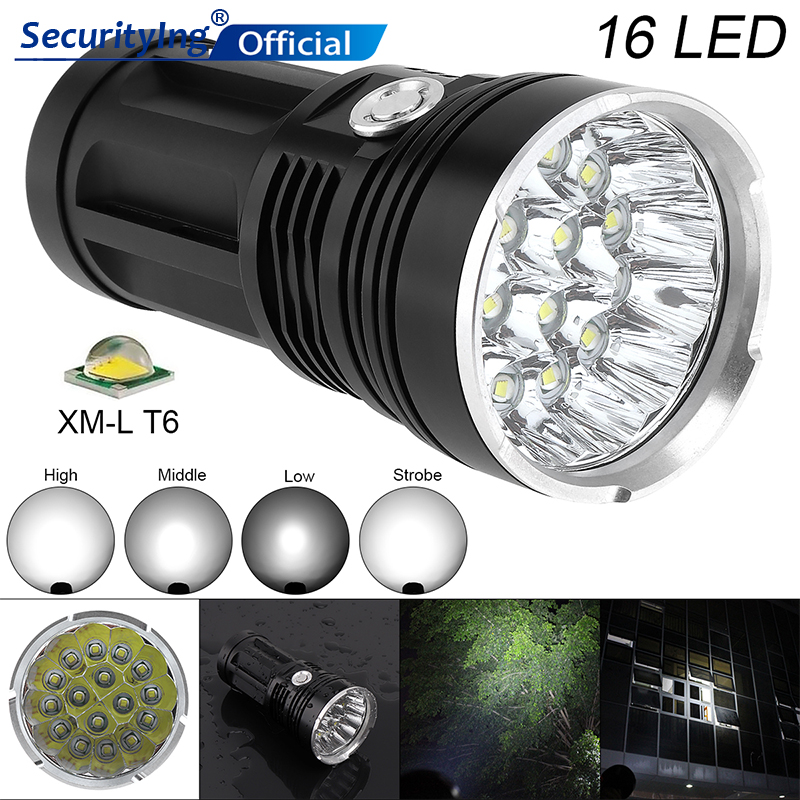 SecurityIng 16x XM-L T6 LED 4800Lumens Super Bright LED Flashlight Support 18650 Flashlights Rechargeable Mini Light for Fishing