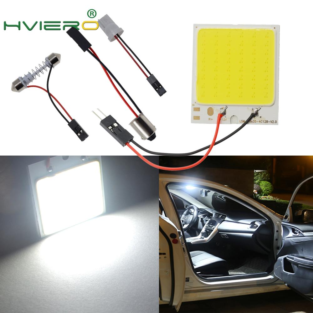 1pcs Red White C5W C10W 24 36 48Smd Cob Led Panel Auto Reading Map Lamp Panel Light Dome Festoon BA9S Adapter DC 12v Auto Led