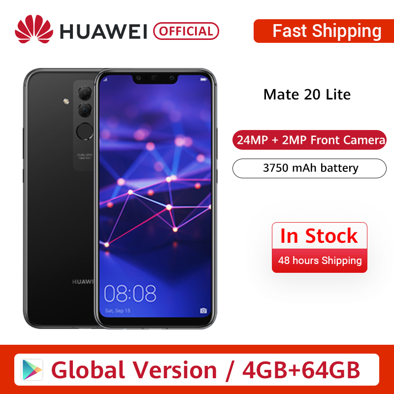 In Stock Global Version Huawei Mate 20 Lite 6.3 Inch Mobile Phone EU Charger 4G 64G 24MP Front Camera F/2.0 Aperture Kirin 710