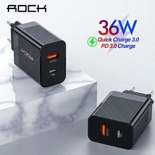 ROCK PD QC 3.0 FCP Dual USB Charger 36W Quick Charge EU US Plug for iPhone X 8 p