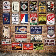 [ DecorMan ] Mobil Gassoline Tires Motor Oil American lubrication TIN SIGN wholesale Mural Paintings Bar PUB Decor LT-1865