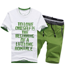 Men Sweatsuits Sportswear Summer Quickly Dry Letter Printed Casual Jogger Running Outfit Set Sweatshirt+sweatpant Sport Suit
