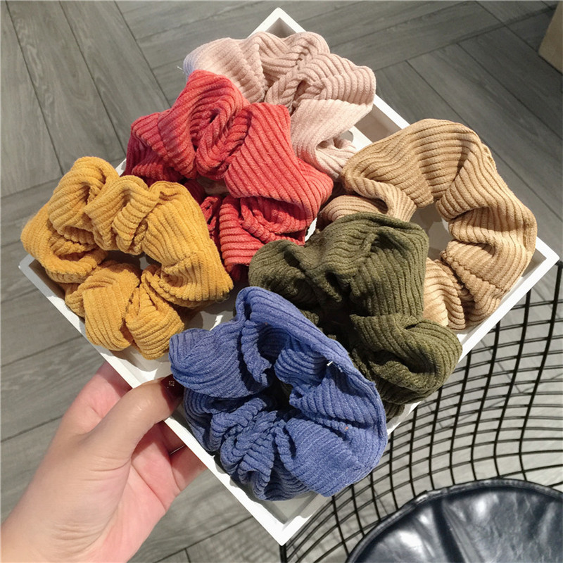 6 Colors Women Warm Corduroy Big Hair Scrunchies Solid Soft Vintage Hair Gums Striped Fabric Rubber Bands For Hair Bun
