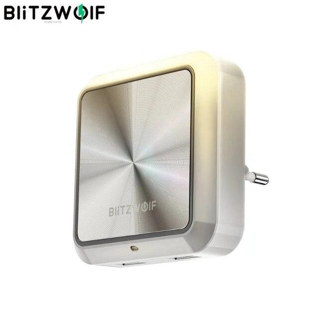 BlitzWolf BW LT14 DC 5V 2.4A Plug in Portable Smart Lighting Sensor LED Night Light Dual USB Charging Eu Plug Smart Socket