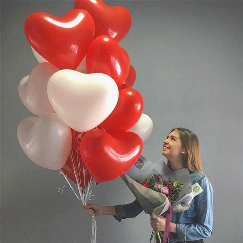 SUEF kırmızı pembe balonlar 10 inç aşk kalp lateks balonlar düğün helyum balon sevgililer günü doğum günü partisi şişme balonlar