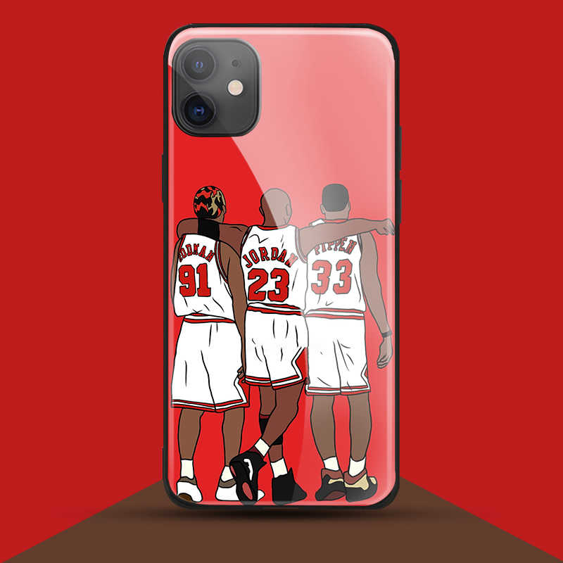 Pippen Jordan Rodman for iPhone SE 6 6s 7 8 plus x xr xs 11 12Pro max 12 미니 강화 유리 전화 케이스 커버 소프트 실리콘