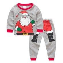 2PCS Christma Santa Xmas Set Outfits Baby Festive Pajamas Clothes Kids Cartoon  Boys Girls Santa Clothes T-shirt +Pants 1-7Y santa baby
