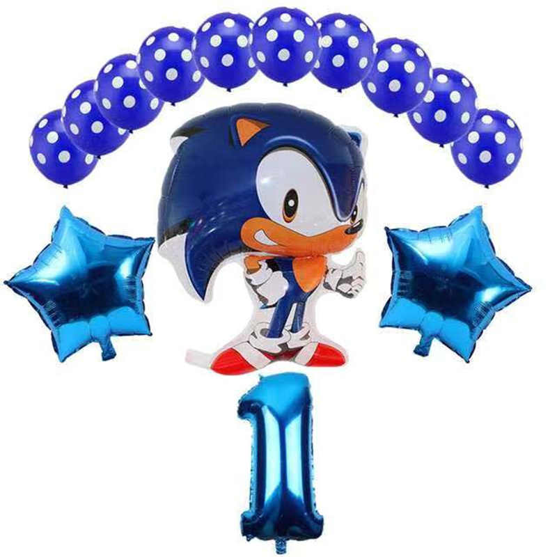 14 Stks/partij Sega Sonic The Hedgehog Super Hero Double Side Folie Ballon Decoratie 32 Inch Aantal Ballonnen Baby Shower