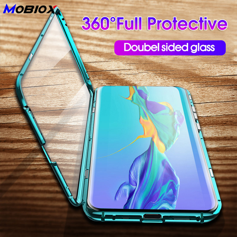 Metal Magnetic Adsorption 360 <font><b>Case</b></font> For Huawei <font><b>Honor</b></font> <font><b>8X</b></font> <font><b>MAX</b></font> 9X Pro Double Tempered Glass <font><b>Case</b></font> Cover For Huawei <font><b>Honor</b></font> 10 Lite 10 image