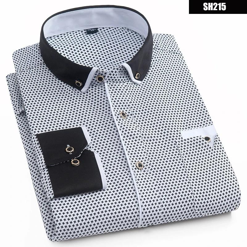 2019 Men Fashion Casual Long Sleeved Printed shirt Slim Fit Male Social Business