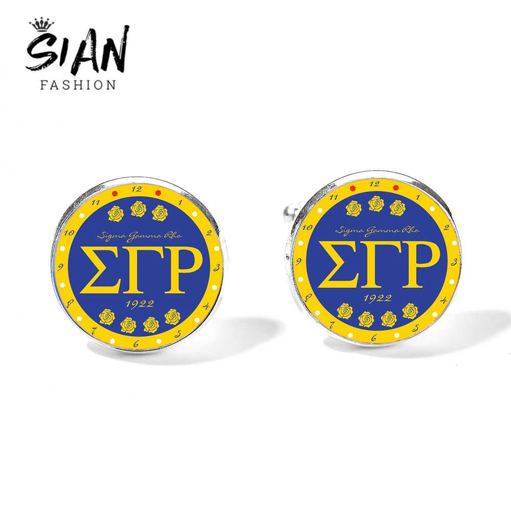 SIAN Sigma Gamma Rho sororité femmes boutons de manchette impression fleur SGR grec sororité signe boutons de manchette bouton verre gemme déclaration bijoux