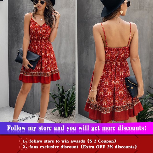 Summer Women Print V-Neck Dress 1