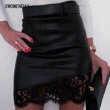 Винтажная черная полиуретановая мини-юбка, сексуальная женская короткая кружевная прошитая на молнии, осень-весна, искусственная кожа, облегающая Асимметричная элегантная одежда