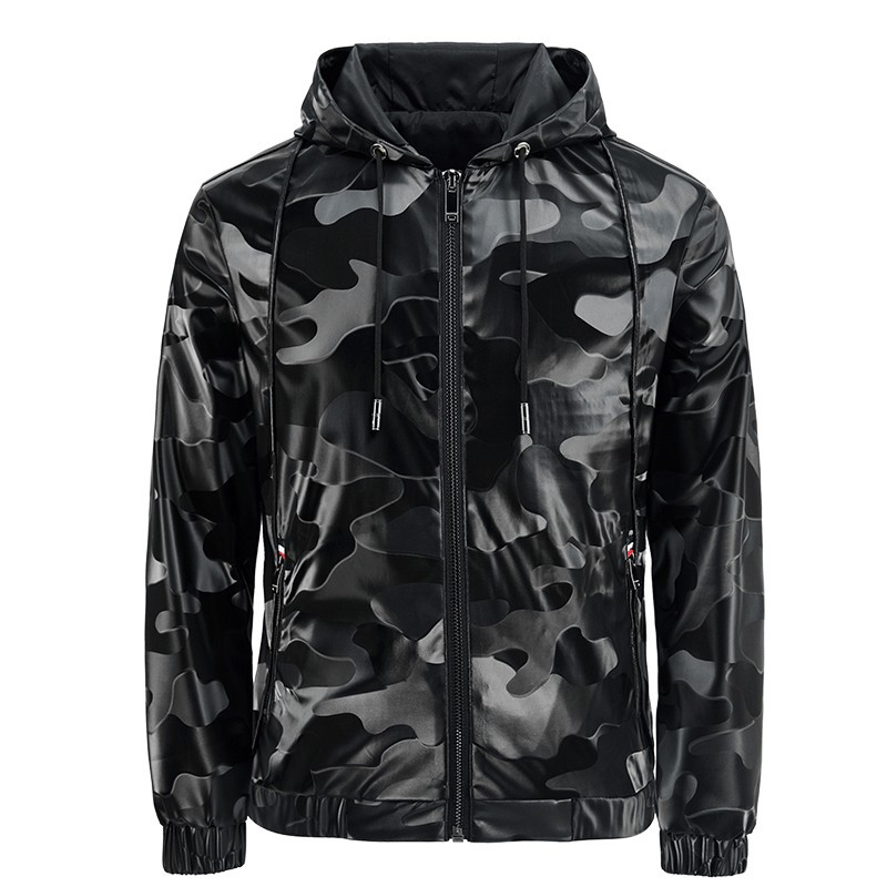 Windbreaker Men Casual Jacket 2020 New Arrival Spring Autumn Hooded Camouflage Zipper PU Jackets Outwear Men's Coat MY187