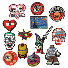 1 PCS Love Skull Character Batman Patches Iron on Stripes for Badges Eye Stickers Clothes Embroidery Letter Punk Appliques