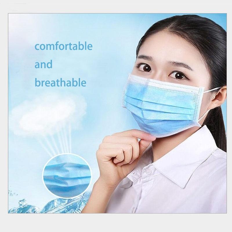 60 Pcs/lot Manufacturer Direct Sale Disposable Dust-proof Civil 3-layer Mask Anti Haze 3ply Mask Public Place Protective Mask