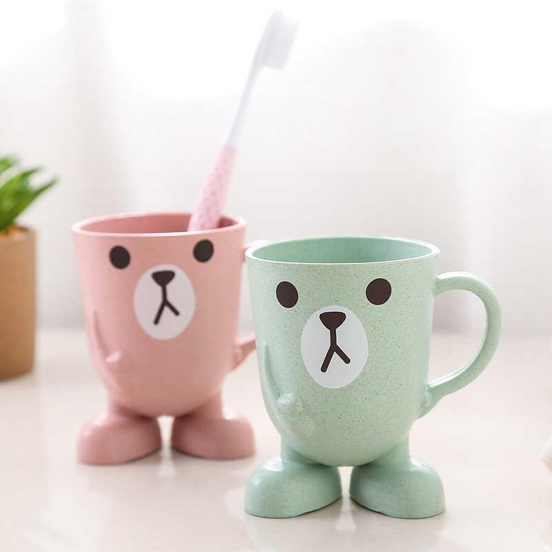 Creative Wheat Straw Cartoon Animal Toothbrush Cup Bathroom Tumbler Mouthwash Travel Toothbrush Holder Home Bathroom Accessories