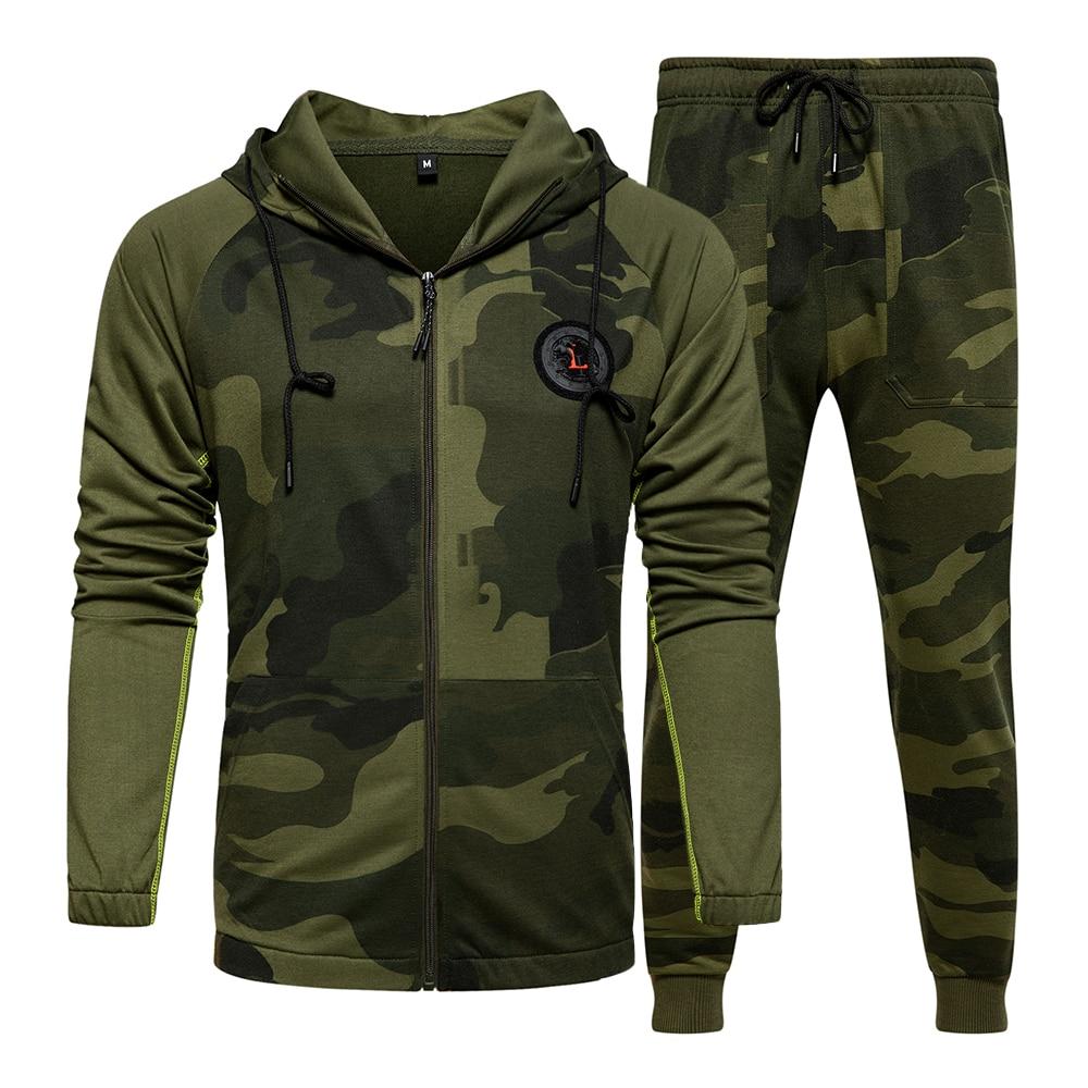 US/Euro Size Suit Men's Set Brand Fitness Suits Men Set Long Sleeve Camouflage Hoodies+Pants Male Sportswear Suit Trajes Hombres