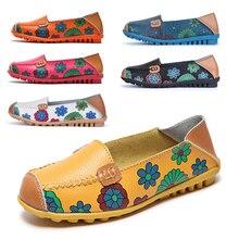 Shoes Ballet-Flats Flats-Print Moccasins-Loafers Slip-On Autumn Women Split 44 Big-Size
