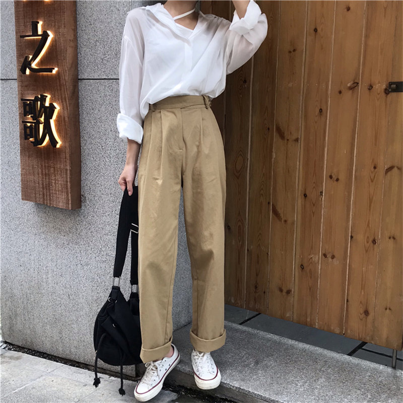 Alien Kitty Women Fresh High Street Straight Pants 2019 Loose Summer High Waist Solid Casual Simple Full Khaki Plus Trousers