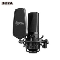 BOYA Professional Large Microphone Mic Kit w/ Double layer Pop Filter Shock Mount for Singer Vocals Home Studio Voice Recording