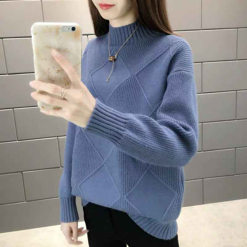 2019 New Fashion Women Sweaters Autumn Winter Elastic Pullovers Female Solid Long Sleeve Half Turtleneck Casual Female Tops 1003
