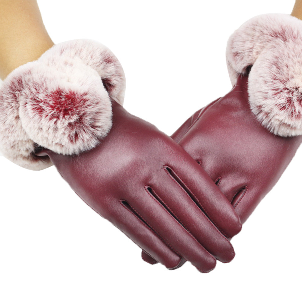 Sleeper #P501 2019 Fashion Women Lady Black Leather Gloves Autumn Winter Warm Rabbit Fur Mittens Luvas перчатки Full Finger Hot