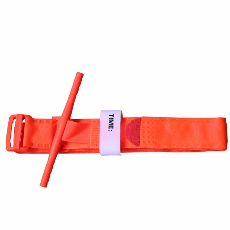 Outdoor Hiking Portable First Aid Quick Slow Release Buckle Medical One Hand Emergency Tourniquet Strap Orange