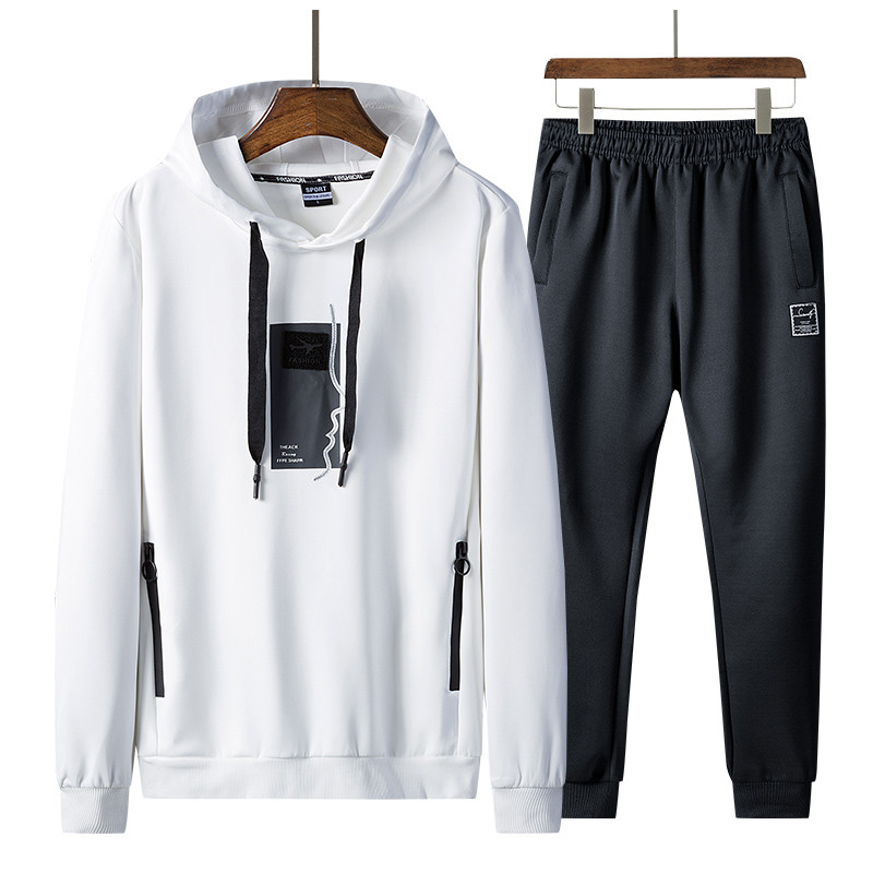 Men Sportswear Tracksuit Autumn Winter Mens Track Suits Two PCS Sweatshirt +Sweatpants New Male Fashion Hooded Sets