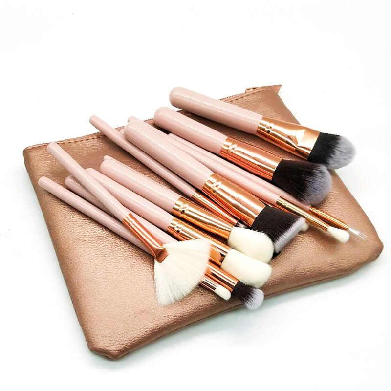 15 sztuk różowe pędzle do makijażu zestaw Pincel Maquiagem Powder Eye pędzel kabuki kompletny zestaw kosmetyki przybory kosmetyczne ze skórzanym etui