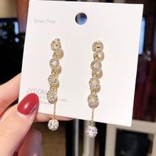 S925 aguja de plata bohemio anillo largo cristal flecos pendientes largos Mujer Retro Simple declaración pendientes boda joyería