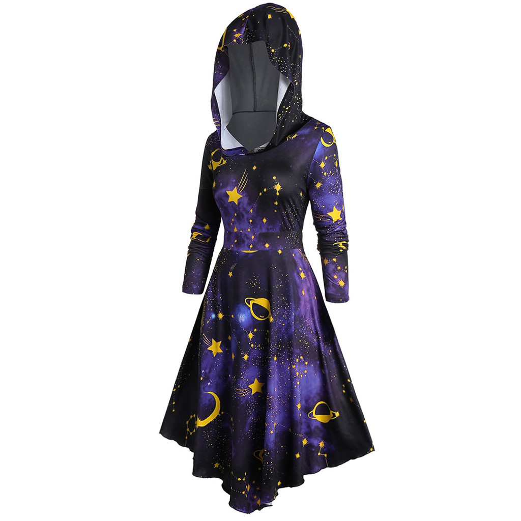 Black Hoodie Dress 2020 Vintage Long Sleeve Gothic Dress Women's Plus Size Hooded Spiral Tie Print Long Sleeve Long Dress