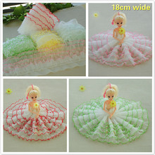 5 Layer Pleated Organ Tulle Color Side Lace Fabric DIY Clothing Leader Skirt Wedding Fast Sewing Home Textile Toy Clothes Trim