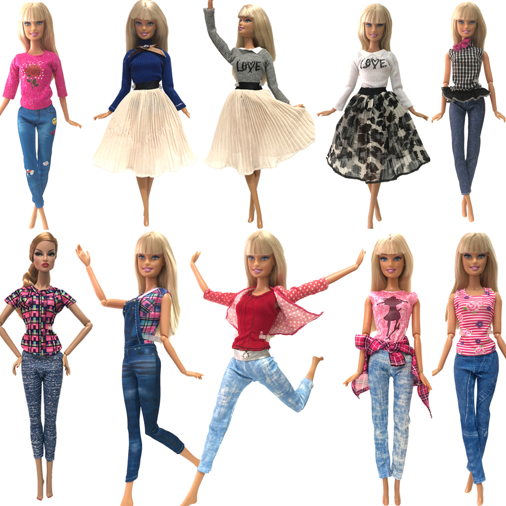 NK Newest  Mix Doll Dress  Handmade Party Clothes Fashion Design Outift For Barbie  Doll Accessories Child Girls' Gift JJ