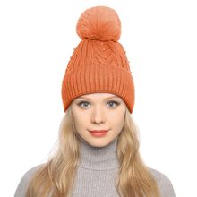 winter for women fur pompons for hats Winter Warm Thickened Knitted Ball Cap Fashion Women Curling Button Cap Hat sun visor(China)