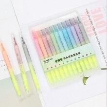 12Pcs/Set Multicolor Pens Mild liner Double Headed Fluorescent Pen Cute Art Highlighter Drawing Mark Pen School Stationery Gift