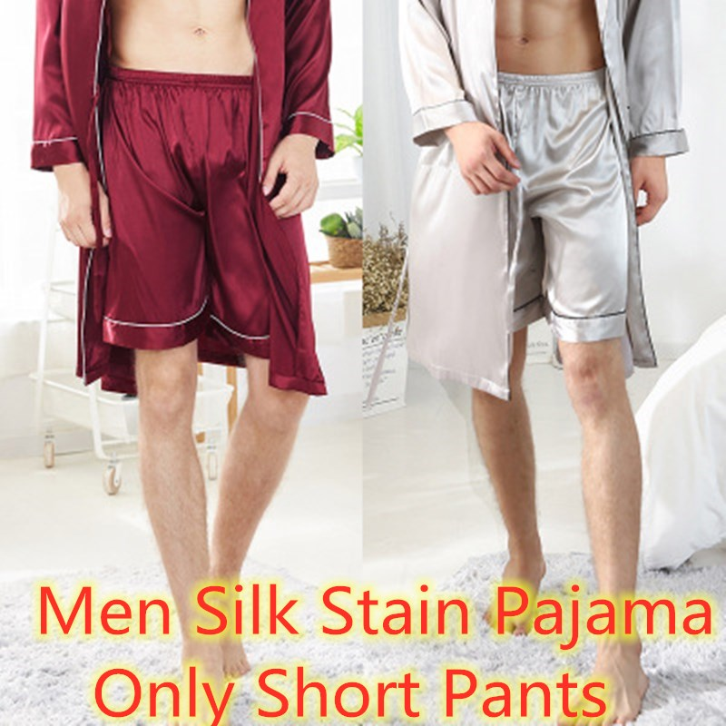 Men's Pajamas Silk Satin Pajamas Bottoms Summer Pijama Hombre Seda Short Pants Pyjamas Loungewear Homewear Pijamas Verano Hombre