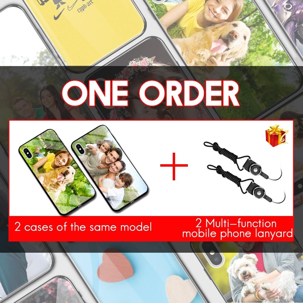 2 PCS Su Misura Personalizzati Cassa Del Telefono In Vetro Temperato Per Xiaomi Mi 10 9 SE 8 A3 Lite 6X F1 Redmi nota 8 7 6 Pro Della Miscela 2s 3 Della Copertura